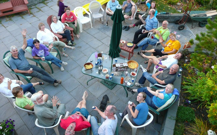 A community gathering at Calgary's Prairie Sky Cohousing