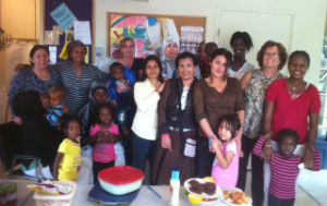 A group of women from the Lincoln Park community at a gathering hosted by Bethany Chapel.
