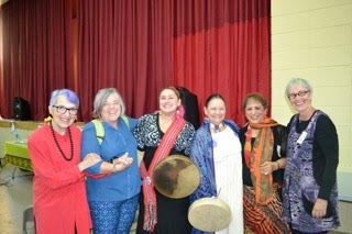 Marion Jorgensen (from Women in Black), Karen Huggins (from Project Ploughshares), singers Chantal Stormson and Cheryl Chagnon Greyeyes, artist Zarina Boga and co-ordinator Carolyn Pogue. unknown photographer